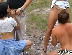 3 sluts fuck next to the road before anal orgy in shop