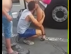 Guy forced to suck pussy in public