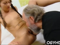 Young snatch filled by old pecker