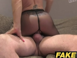 Fake Agent UK Cute horny MILF with shaven pussy sucks and fucks agent