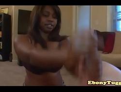 Ebony amateur babe pulling hard dick