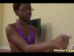 Spex black amateur tugging dick pov