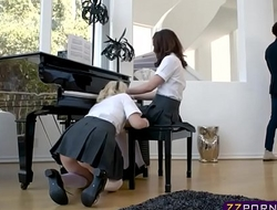 Two cute teens fucked hard by a black piano teacher