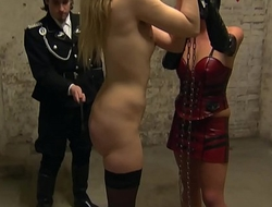 Dominating a Bondage blonde skinny German Teen