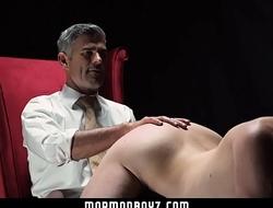 Dominant priest spanks naughty Mormon boy