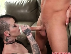 Stunning goth babe throatfucked before anal