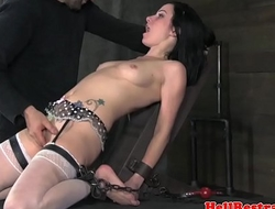 Gagged bdsm sub fingered and whipped