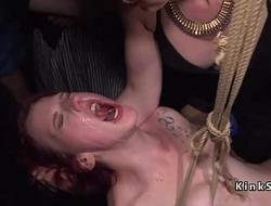 Pain slut orgy fucked in public