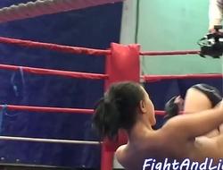 Bigtits lesbian licks wrestling babes pussy