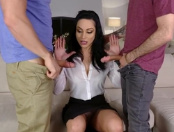 Hot Russian MILF banged by her stepson and his best friend